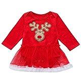Babykleider,Sannysis Baby Mädchen Festlich Kleid Long Sleeve Deer Print Strampler Kleid Weihnachten Outfits Kleidung