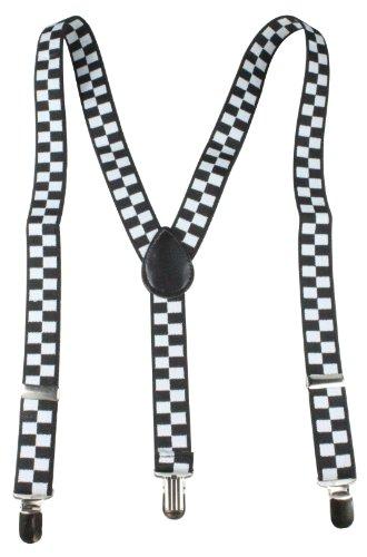 Bretelles Y pour Femmes / Homme avec 3 clips dans 15 Couleurs / Neon / Carreaux / Couleurs Uni Noir / Blanc avec carreaux