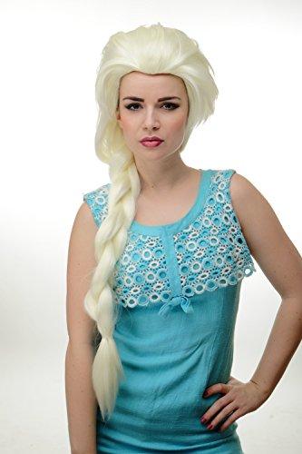 Damenperücke Cosplay langer Zopf toupiert platinblond eisblond blond Prinzessin GFW2072L-613A (Rapunzel Cosplay Perücke)