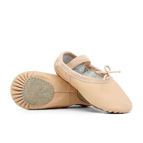 DANCEYOU Balletschläppchen Rosa Ballettschuhe aus Leder Mädchen Tanzschuhe mit Geteilte Sohle für Damen und Kinder 245 EU38.5/39