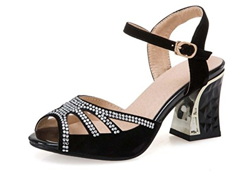 NobS Diamond Suede Sandals Femmes Taille Plus Chaussures Black