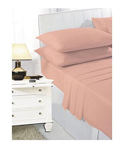 Fogli di Islander Fitted Lenzuola con angoli foderati con federe per cuscini Camera da letto Camera Biancheria da letto Pesca Super King