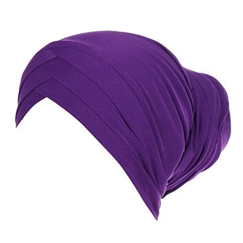 Dorical Damen Muslimische Kopftuch Elastizität Frauen Indische Turban-Hüte Turbanmütze Kopfbedeckung Schlafmütze für Haarverlust, Chemo, Krebs Cap Chemotherapie,Mode-Accessoire(Lila)
