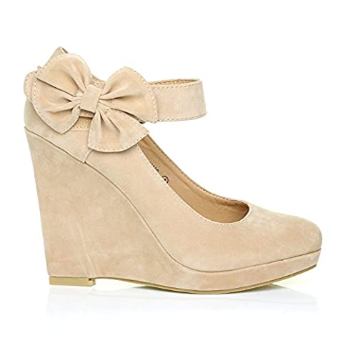 LUCY Nude Faux Suede Round Toe Platform Wedges with Ankle Strap Size UK 4 EU 37