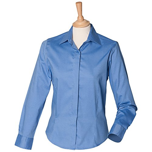 Henbury Womens long sleeve lightweight Oxford Corporate Blue