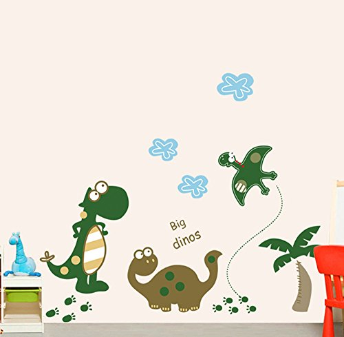 Fumetto sveglio Dinosauri verde adesivi parete della scuola materna per i bambini da letto Soggiorno Sfondo Home Decor rimovibile decalcomanie - Sveglio Del Dinosauro