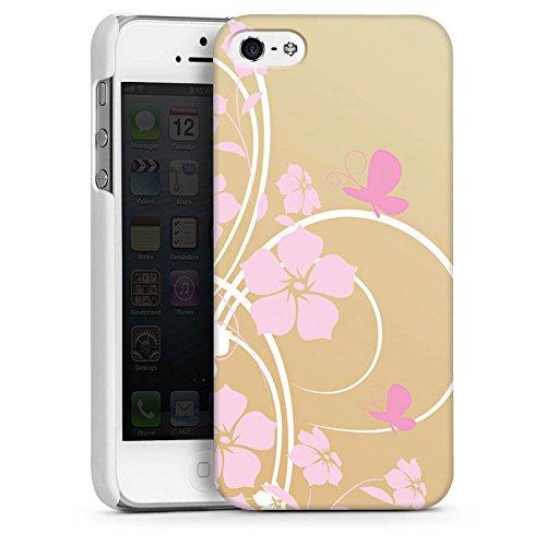 Apple iPhone 5s Housse étui coque protection Fleur Fleur Papillon CasDur blanc