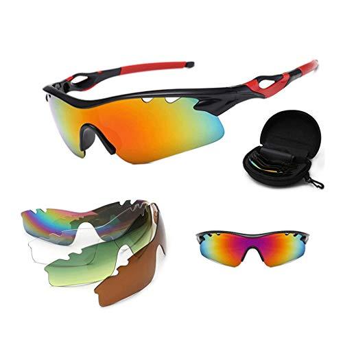 Qinmo Sportschutzbrille mit transparenter, kratzfester Linse - transluzent polarisiert + PC (Farbe : Rot)