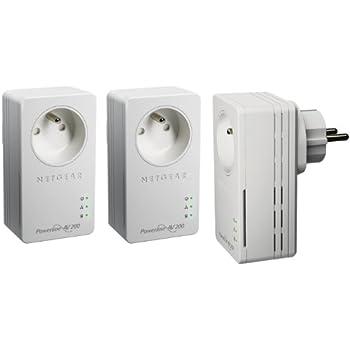 Netgear XAVT1601-100FRS Pack de 3 Adaptateurs CPL Ethernet Powerline 200 Mbit/s Nano Avec Prise Femelle Integrée Homeplug AV 1 Port