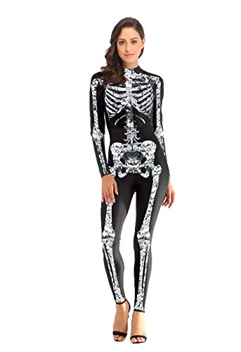 (URVIP Damen Halloween Party Cosplay 3D Gedruckt Kostüm Overalls Bodysuit One Piece Body Anzug Karneval Fasching B108-008 L/XL)