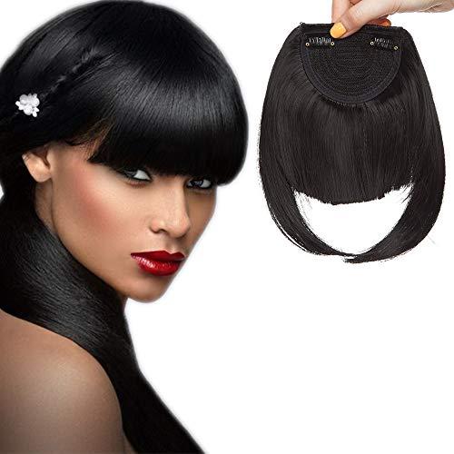 Frangetta finta capelli clip frangia frontale extension corta bangs hair capelli lisci posticci donna 30g nero scuro