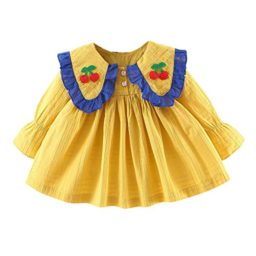 Boy Hippie Kleinkind Kostüm - Livoral Baby Madchen Kleidung Kleinkindbaby-Kindermädchen faltet beiläufige Abnutzung des Kirschpuppenkragen-Kleides(Gelb,110)