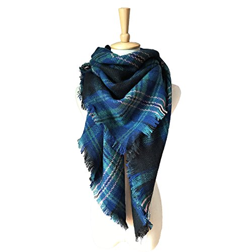 Stylish XXL Damen Schal Kariert - WinCret Soft Blanket Winterschal Deckenschal Karo Tartan Streifen Plaid Muster 140*140cm (Tartan Plaid)