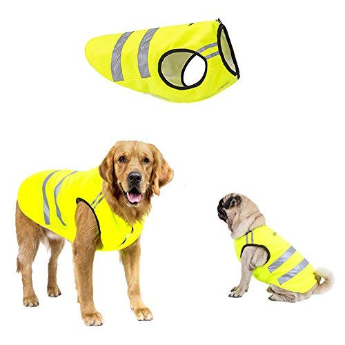 ALAMP Hunde Warnweste Sicherheitsweste reflektierend Hundebekleidung Winter Warm Mantel