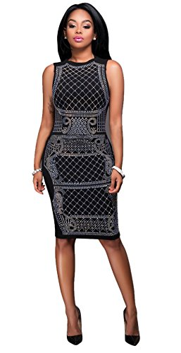 Femmes Sexy ras du cou sans manches Hot Drilling Package Hip Nightclub Dress Silber-