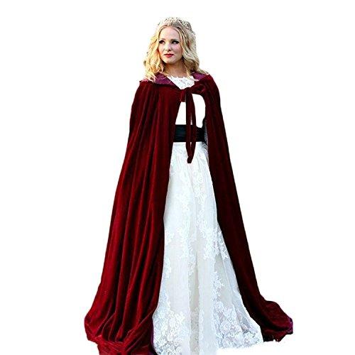 ang mit Kapuze Lange Cape Vampir Kostüm Halloween Hochzeit Braut Mantel (Burgundy, 2XL) ()