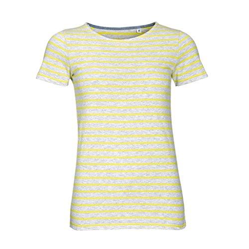 SOLS Miles - T-shirt rayé à manches courtes - Femme Blanc/Rouge