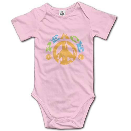 Abigails Home Friedenszeichen Mit Den Blumen Neugeborenen Kinder Babyspielanzug Kurzarm Säuglingskleinkindoverall (0-3 Mt, Rosa) -