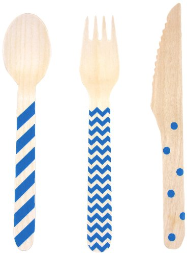 Dress My Cupcake Stamped Wooden Cutlery Set, Chevron/Striped/Polka Dot, Royal Blue, 18-Pack