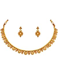Jfl - Jewellery For Less Traditional Ethnic One Gram Gold Plated Polki Diamond Designer Necklace Set With Earrings...