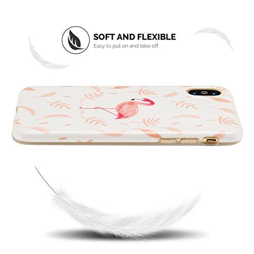 IPhone X Hülle, iPhone X Case, Apple X Handyhülle, Spiritsun Weiche TPU Hülle für Weihnachten Kawaii Cover Hochwertige Funkelnde Luminoso Hülle Elegante Flessibile Liscio Flamingo Protezione Hülle für Flamingo 2