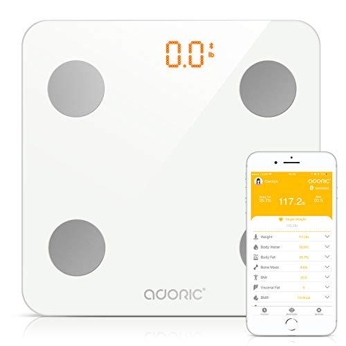 Adoric Bilancia Diagnostica Digitale Wireless, Grasso Corporeo Bilancia per IOS e Android, Misura Peso, Grasso, Liquidi, Massa Muscolare, BMI, BMR, Massa Ossea e Grasso Addominale.(Bianco)