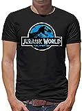 Jurassic World Distressed Logo T-Shirt Herren M Schwarz