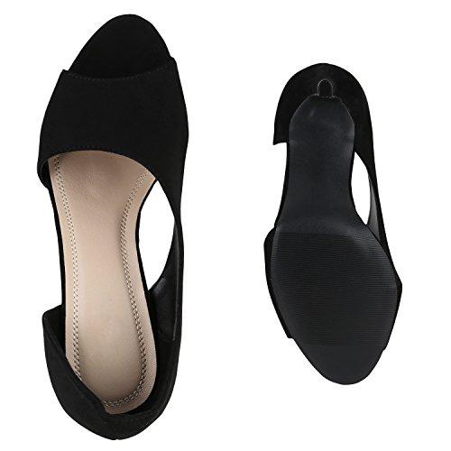 Damen Sandaletten High Heels Pumps Stiletto Schuhe Schwarz Velours