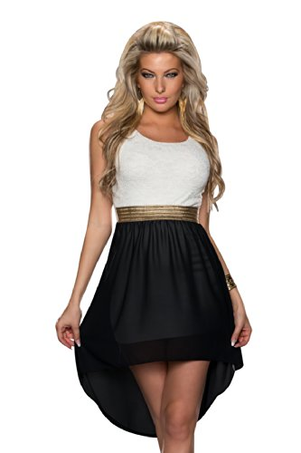 4370 Fashion4Young mini robe en chiffon-punk styl - 5 couleurs disponibles :  36/38 - Blanc/noir
