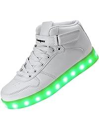 Shinmax Hi-Top LED Zapatos 7 Colores que Cambian con el Brillo de USB Recargables Hombres de las Mujeres Calza los Luminosos Zapatillas con Luces de Zapatillas LED con el Certificado del CE