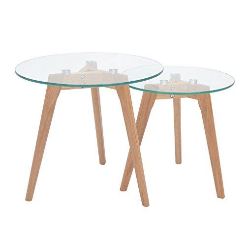 More Design Set de 2 Tables Basses Gigognes, Chêne, Transparent/Naturel, 50 x 50 x 45 cm
