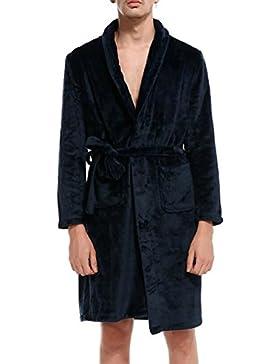 PFSYR Pijamas de los hombres, invierno coral terciopelo noche bata albornoz cálido y cómodo ropa para el hogar