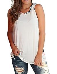 Mujer Blusa verano,Sonnena ❤️ ❤️ sexy off hombro Suelto blusa con tirantes y Botones Color sólido sin manga casual moda traje de verano fresco