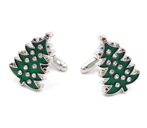 Da.wa Novelty Green Christmas Tree Design Men French Style Metal Cufflinks For Men's Shirt Christmas Gift