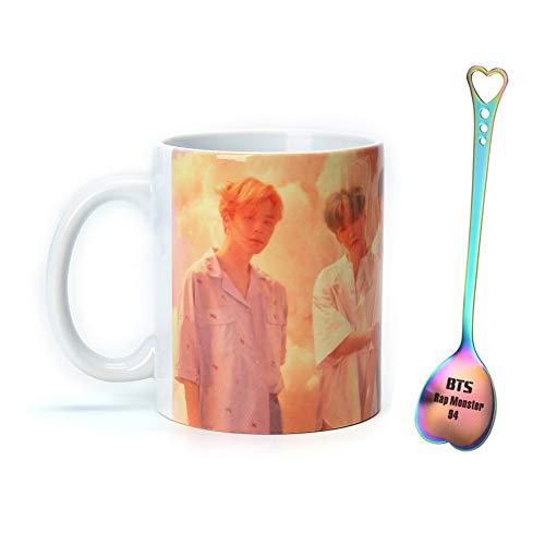 GOTH Perhk BTS Bangtan Boys LOVE YOURSELF Becher Tasse Keramik mit Einem Exquisiten Löffel(RM Style 1) -