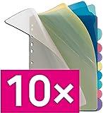 Veloflex 4248800 Register A4, 10-teilig, PP-Folie, blanko Taben, 5-farbig transparent (10er Pack)