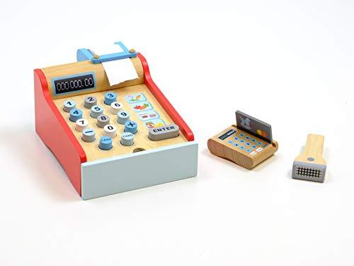 Unbekannt Registrierkasse aus Holz mit Scanner, Bonrolle + ausziehbarer Geldlade, Kreditkarte + Spielgeld / Material: Holz / Maße: 25x16,5x10 cm