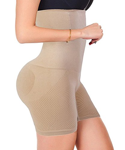 Beige Kurze Shaper (FUT Damen Shapewear Bauchkontroll-Shorts, hohe Taille, mittellang, Body Shaper, Damen, beige, Medium/Large)