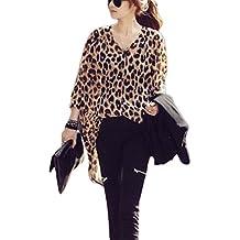 Vemubapis Mujeres Botón Print De Leopardo Camisetas Blusa con Elastico