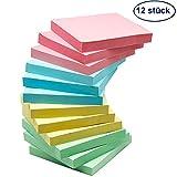 Haftnotizzettel Klebezettel Sticky Notes Haftnotizen Klebemarkierungen - 12 Notizblöcke Rechteckig à 100 Blatt in 4 Farben 76x76mm
