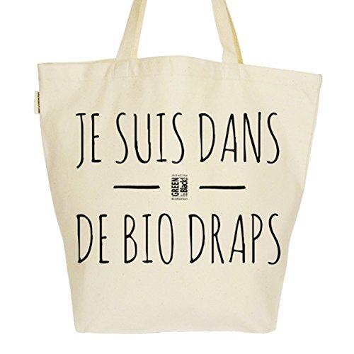 Grand Sac Cabas Fourre-tout Imprimé Toile Bio 37x45x20cm Tote Bag XL - Je suis dans de BIO draps