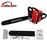 "AUTOJARE Petrol Chainsaw, Easy Start, 20"" Bar, 2 cycle, 52cc, 2 Stroke, Cordless"