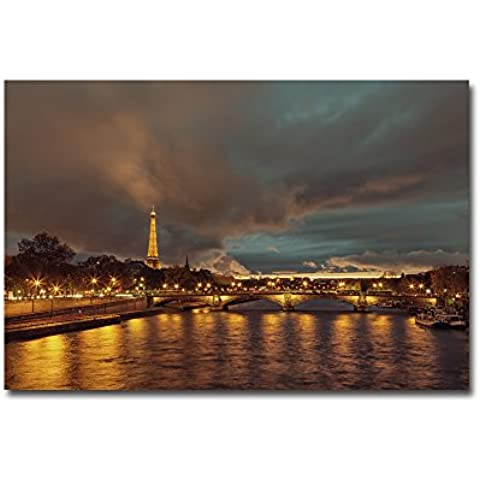 lotuslife stampata su tela dipinti Illuminati Torre Eiffel e bridgeoil pittura arte per decorazione da parete,