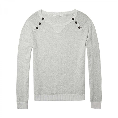 Scotch & Soda Maison Damen Pullover Fitted Pull with Buttons At Raglan Grey Melange
