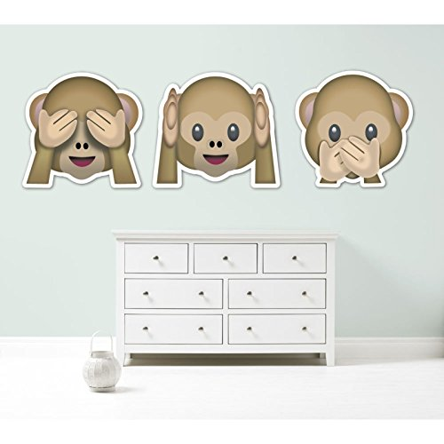 Kapowboom Graphics Emoji-Emoticons DREI Affen See No Evil Hear No Evil Speak No Evil Vinyl Wand Auto Aufkleber Aufkleber 3Größe Optionen, Vinyl, Each Monkey 40cm Wide