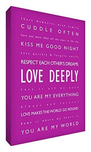 Little Helper LVDP1624-08 Feel Good Art Wandschmuck Leinwand, Love Deeply, 60 X 40 cm, dunkelrosa -