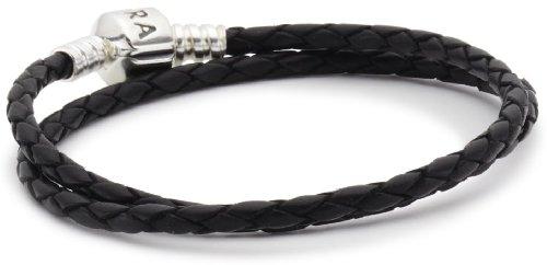 Pandora Lederarmband, zweifach gewickelt 590705CBK-D1 schwarz 17,5cm (Leder-gewickelt Leder 9)