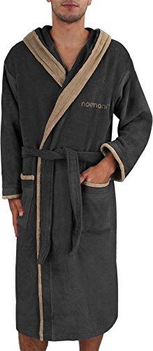 Herren Bademantel Sauna-Mantel mit Kapuze in Baumwolle Oko Tex Standard 100 Farbe Schwarz/Beige Größe L
