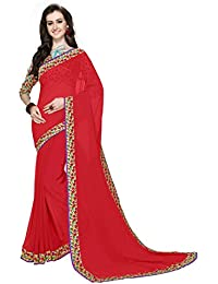 Arawins Women's Georgette Saree With Blouse Piece (106_Saree, Red, Free Size)