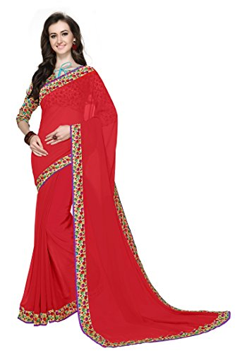 Arawins Women's Ethnic Clothing Red Georgette Printed Lace Border Work Sarees For...